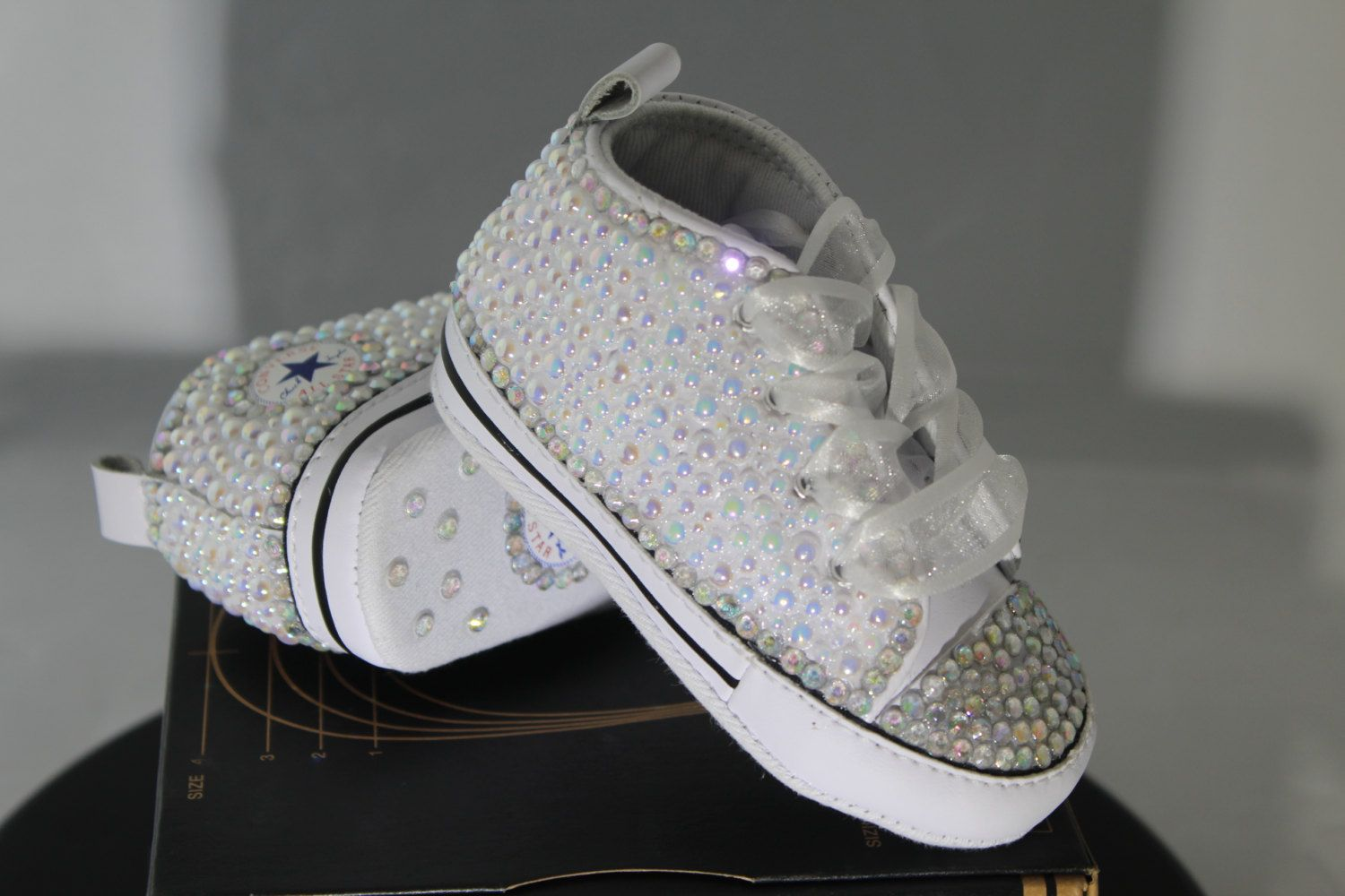 Baby- Infant- Baptism- Christening- Custom Converse- Crystal  Pearl Studded  Shoes- Baby Shower Gift Set- Baby Boys- Baby Girls- Size NB   Up by ... e72b56cd7f