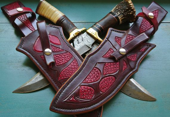 Drago  Custom Leather Knife Sheath by Stronghorseleather on Etsy