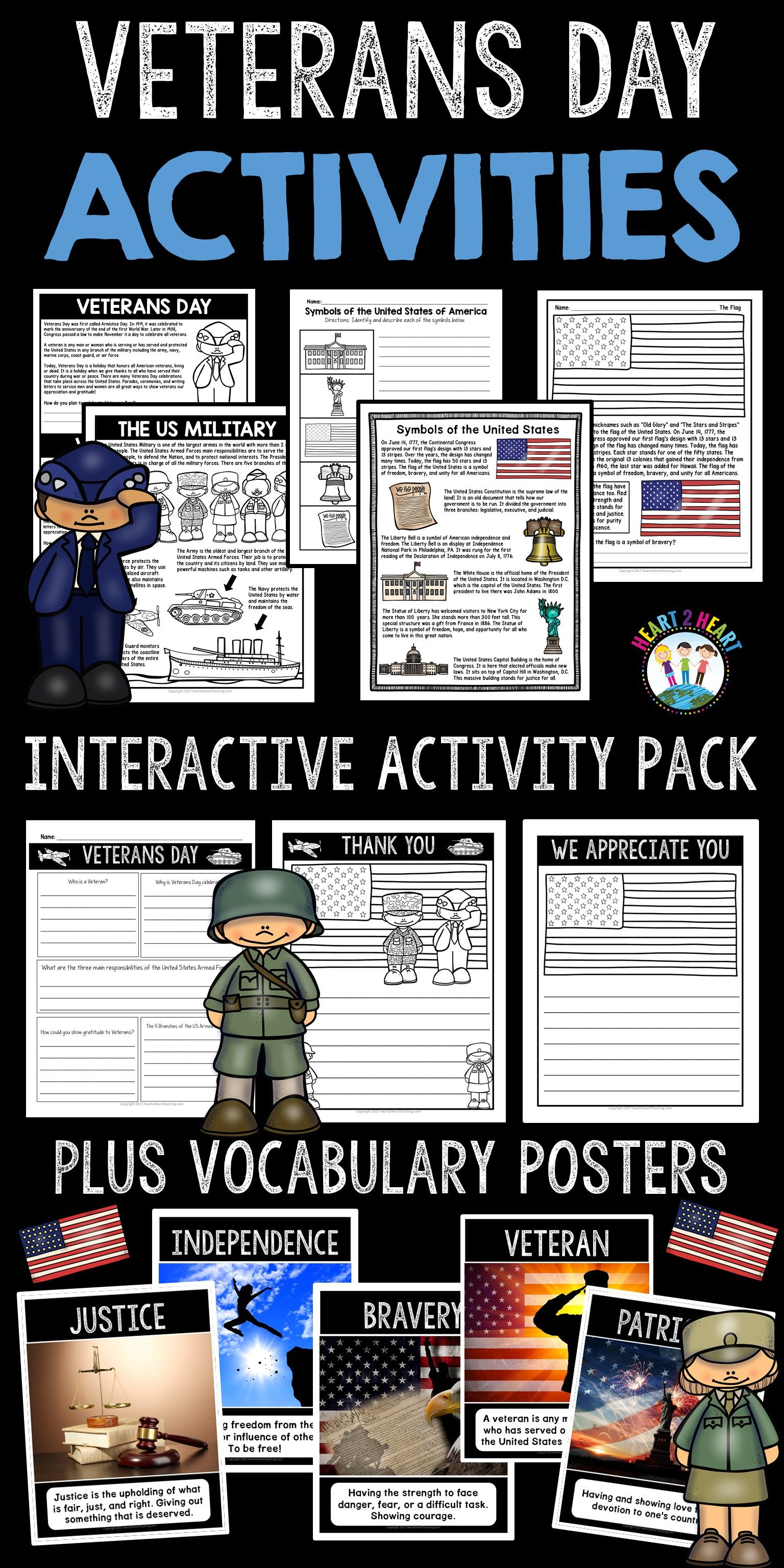 Veterans Day Activities With Veterans Day Writing Symbols United