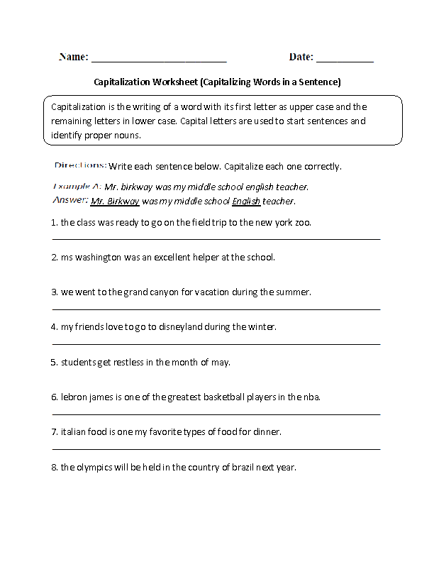 Capitalizing Words in a Sentence Capitalization Worksheet – Punctuation and Capitalization Worksheets