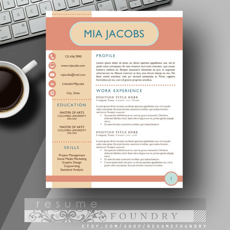 Unique Resume Template And Cover Letter For Word  Mac Or Pc  The