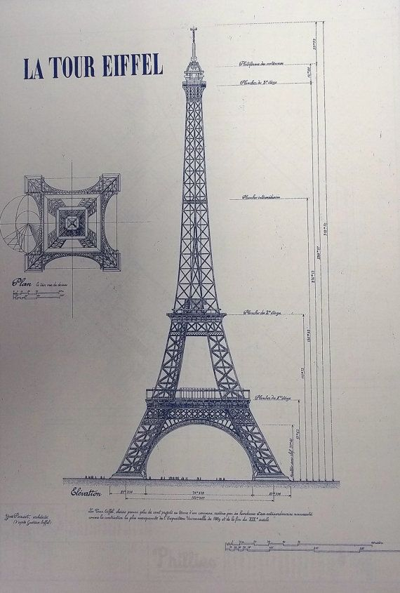 Eiffel tower in paris blueprint by blueprintplace on etsy 1899 wonderful 11 x 17 blueprint of the eiffel tower made the old fashioned way with ammonia activated paper on a diazit blueprint machine malvernweather Choice Image