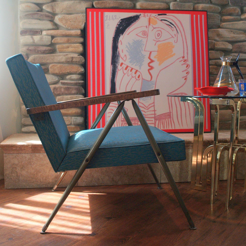 mid century modern furniture vintage danish modern lounge chair 1950s bent metal steel upholstered wood arm - Mid Century Modern Furniture Of The 1950s