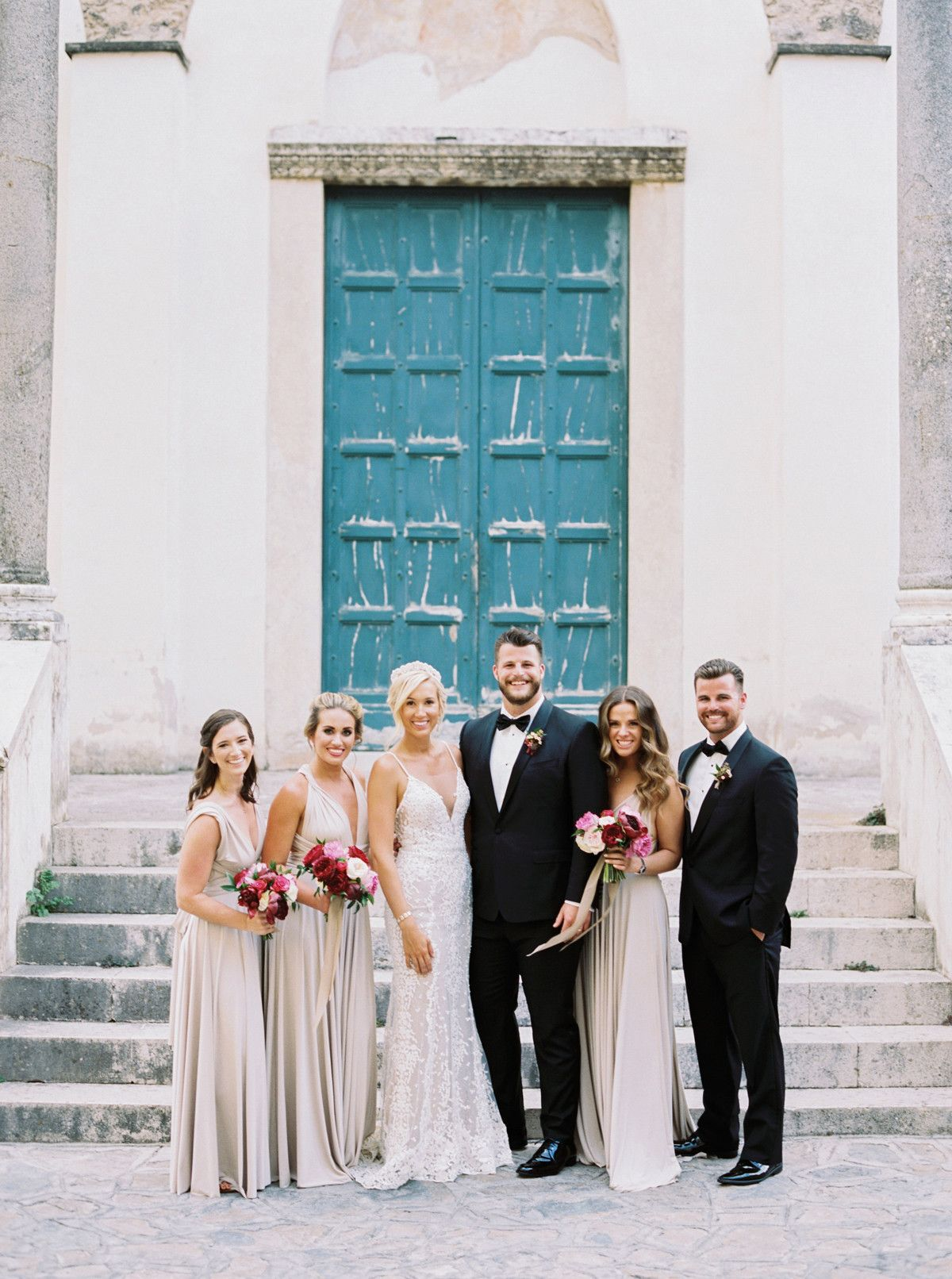The Wedding Party Included Alexandra S Matron Of Honor And Two Bridesmaids Along With Joseph S Twin Broth Italy Wedding Italian Wedding Wedding Ceremony Setup