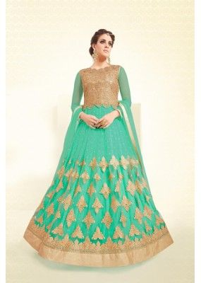 Eid Special Green Mono Net Anarkali Suit - VLT1897PRIVLTHR