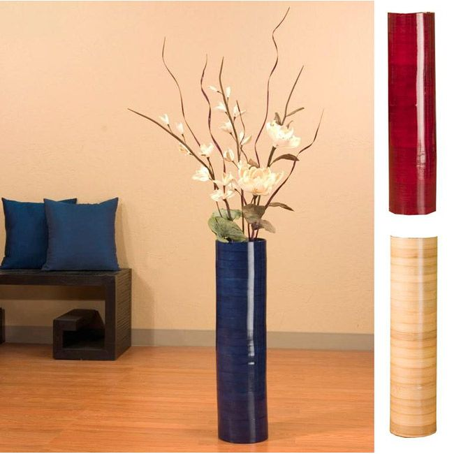 Give Your Home A Natural Decoration With This Sword Lilies And Bamboo Floor Vase This