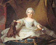Marie-Zéphirine de France (1750-1755), ca. 1751 by Jean-Marc Nattier.  Marie was the first living child of Dauphin Louis Ferdinand and Dauphine Marie-Josephe de Saxe after two stillbirths, but died at the age of five after an attack of convulsions.