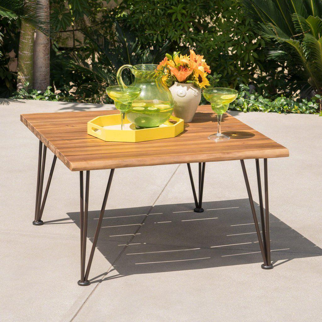 Avy outdoor rustic industrial acacia wood coffee table