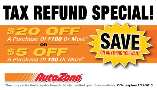 Auto Zone Coupons Printable Coupons Printable Coupons Tax Refund