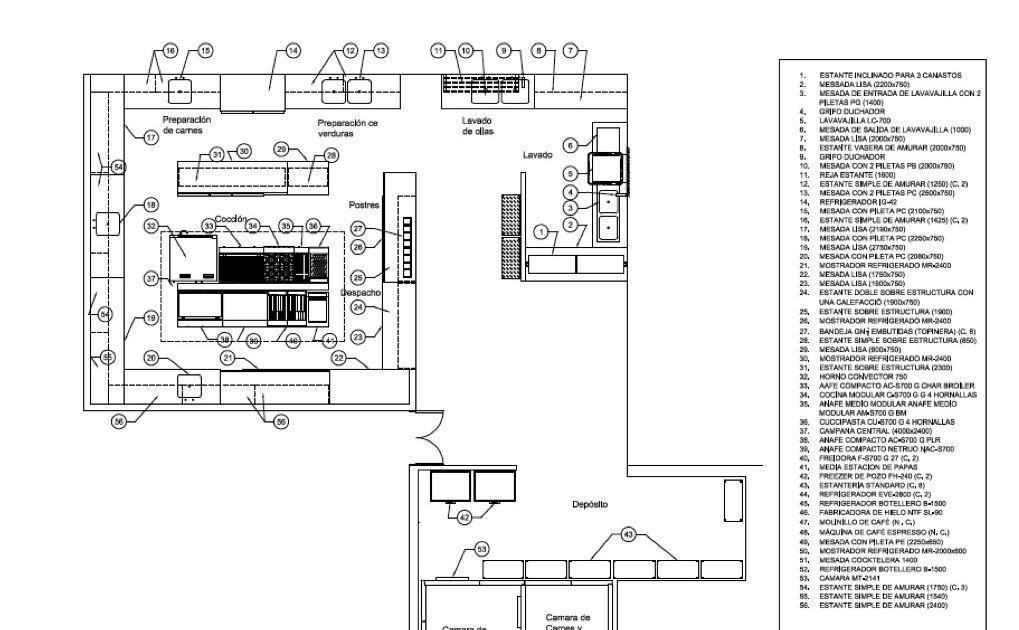 Plano cocina restaurante dise os arquitect nicos for Planos para restaurantes