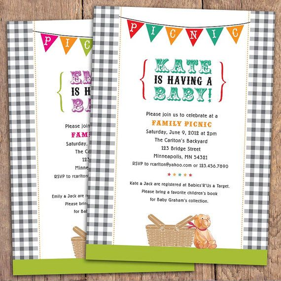 Gingham Picnic Baby Shower Invitation Teddy Bear