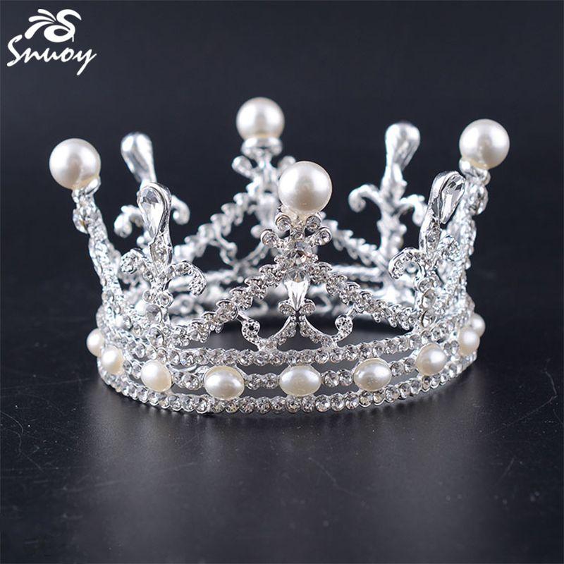 Cute Mini Circle Round Pearl Hair Crown Princess Designs Wedding Jewelry Tiaras