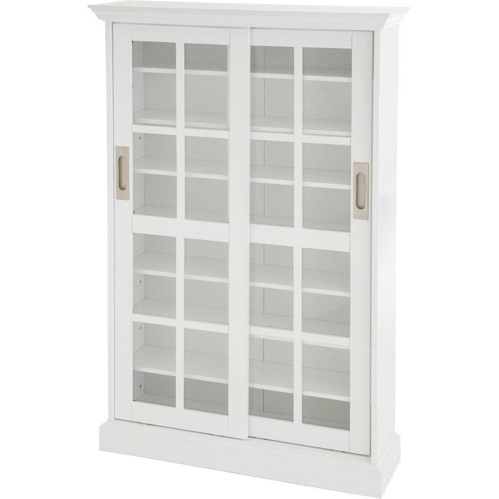 Pure Sliding Door Cabinet White In 2021 Media Cabinet Glass Cabinet Doors White Media Cabinet