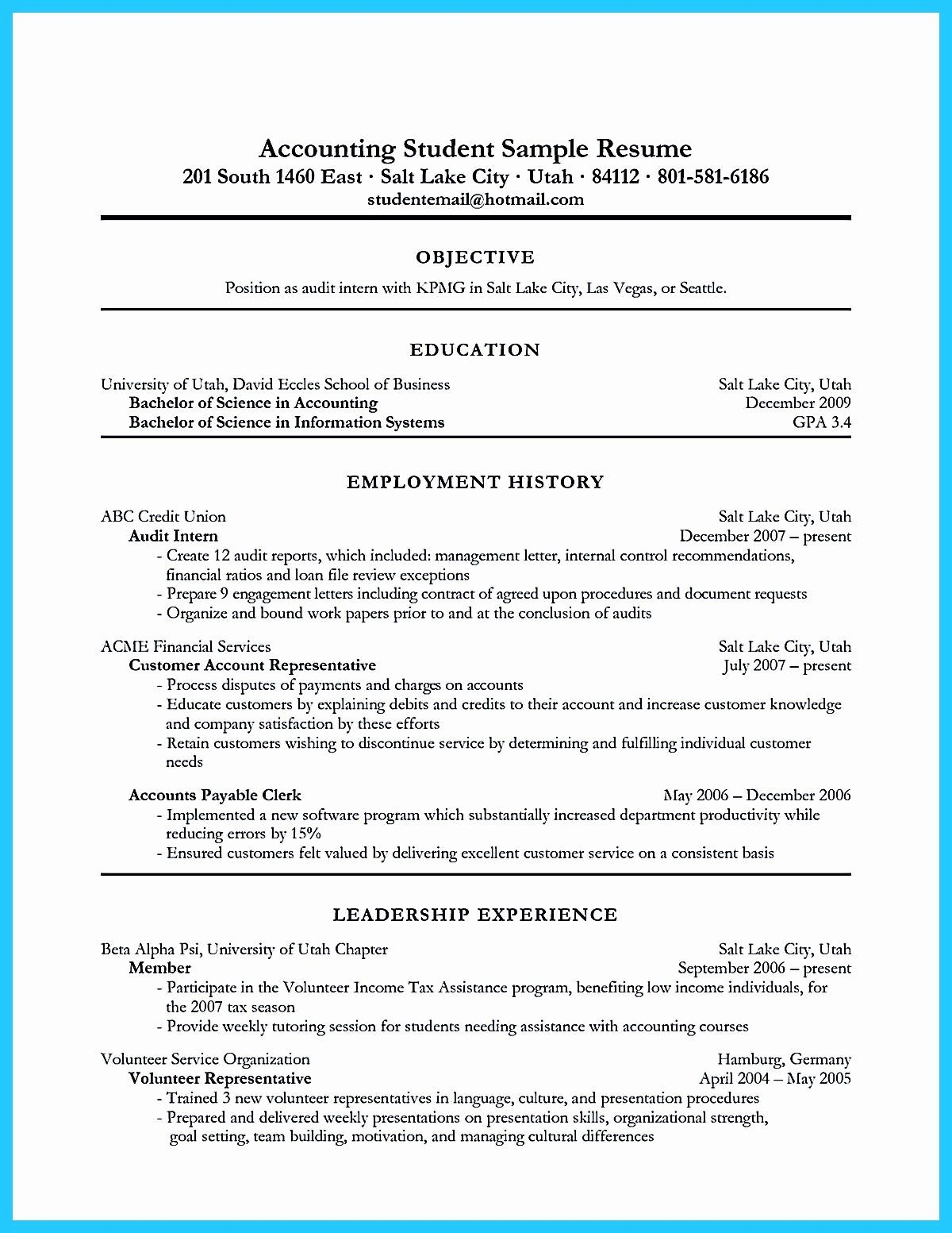 Resume for Accounting Internship with No Experience™ in