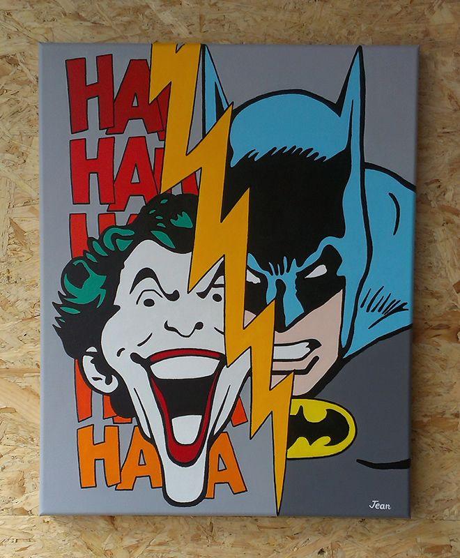 Batman vs the joker acryl on canvas 40cm x 50cm 07 2014