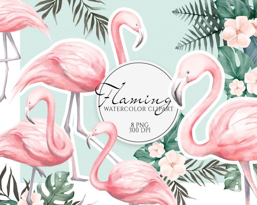 tropical clipart PNG set flamingo Hawaii watercolor greeting PNG bundle Watercolor Tropical Bundle set clip art hawaii stationery