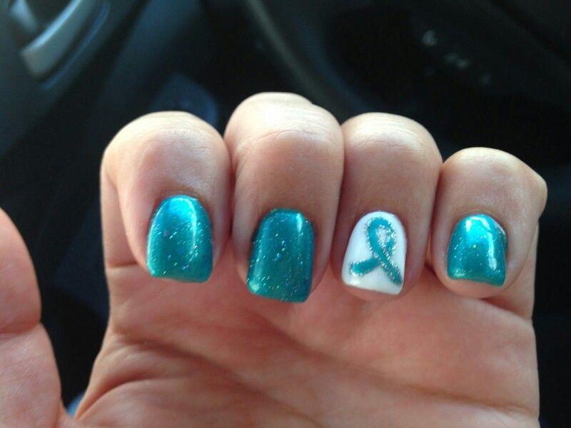 Ovarian Cancer Awareness Nail Spa Teal Nails Diy