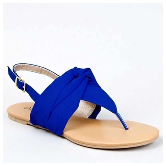 5be4c5514204 Royal blue chiffon summer flat sandals new Chiffon sandals in beautiful  shade of blue. Adjustable strap. New in box. When you are ready to purchase  please ...