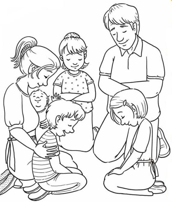 Simple Lds Prayer Coloring Page 28 Family Praying Coloring Page