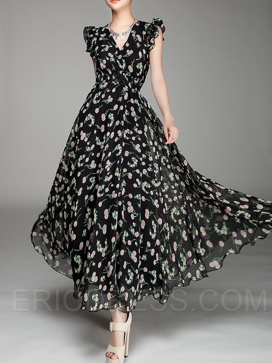 7bdac95330 Ericdress de impresión con cuello en V extensión del remiendo Vestido largo  sin mangas Estilo máximo