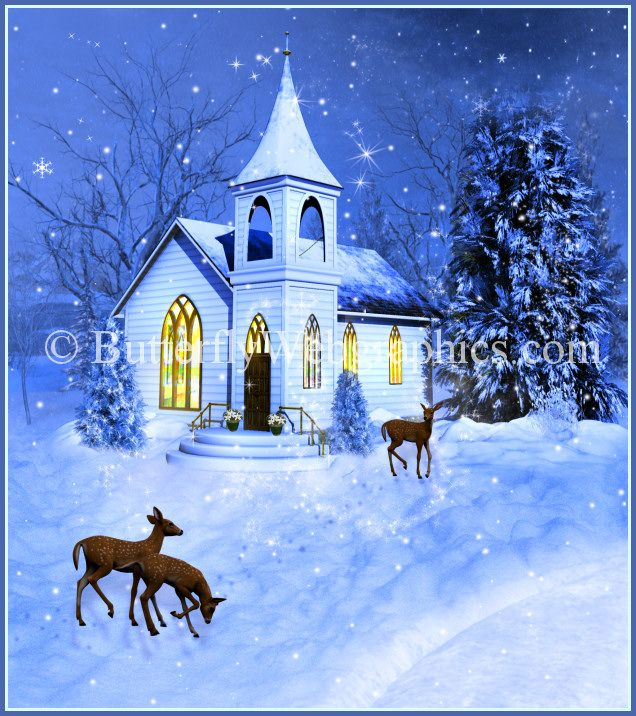 Painting Church In Snow Religious Christmas Ceramic: Holiday Background And Tubes