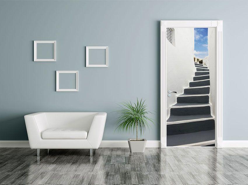 Poster de porte Vers la terrasse Trompe l\'oeil escalier vendu par ...