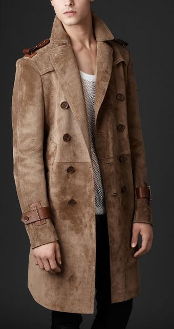 professional website good texture online store Burberry Bonded Suede Double Breasted Trench Coat   dapper ...
