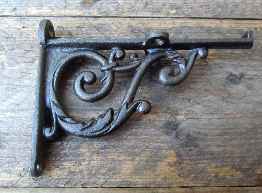 Pair Victorian Scroll Cast Iron Shelf Bracket Vintage