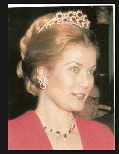 Princess Grace of Monaco wearing the Monaco ruby tiara