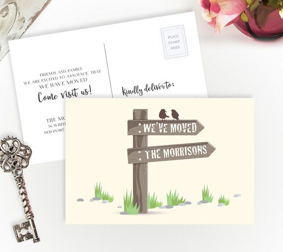 Change of address postcards PRINTED new address announcement card