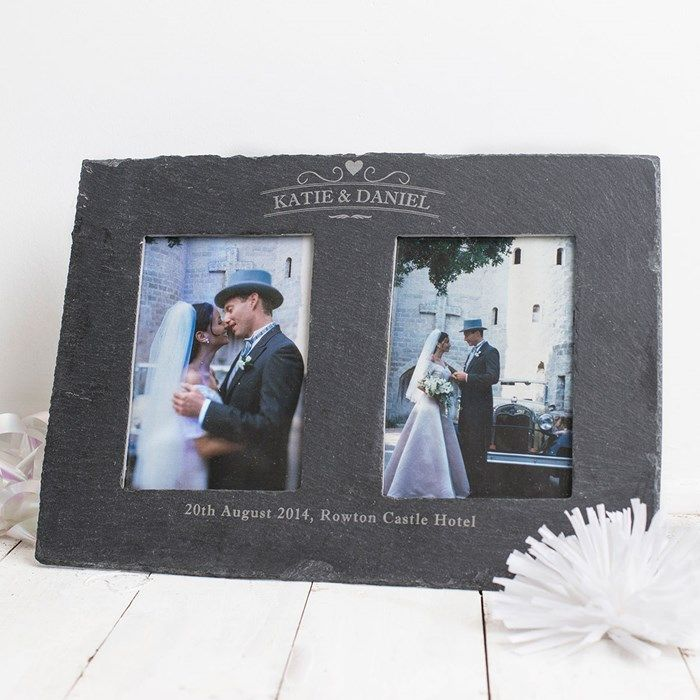 engraved double slate photo frame couples in love gettingpersonalcouk - Slate Castle Ideas