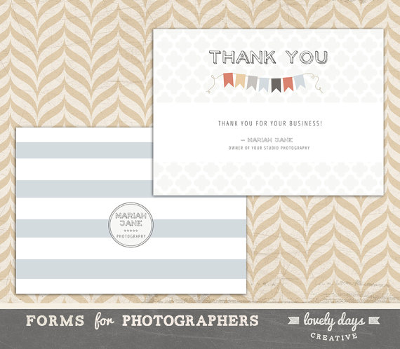 Photographer Thank You Card Template INSTANT DOWNLOAD Card - business thank you card template