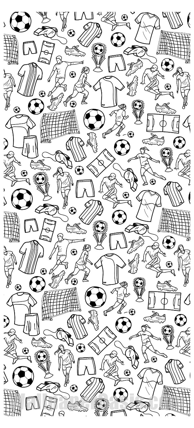 Black and White Soccer Doodle iPhone Wallpaper sports