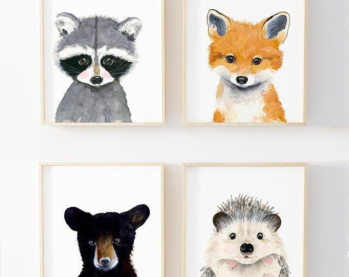Woodland nursery set, Set of 4 Prints, Animal Paintings,moose, hedgehog, rabbit, raccoon, nursery  decor, Nurser yprints, nurserywall art