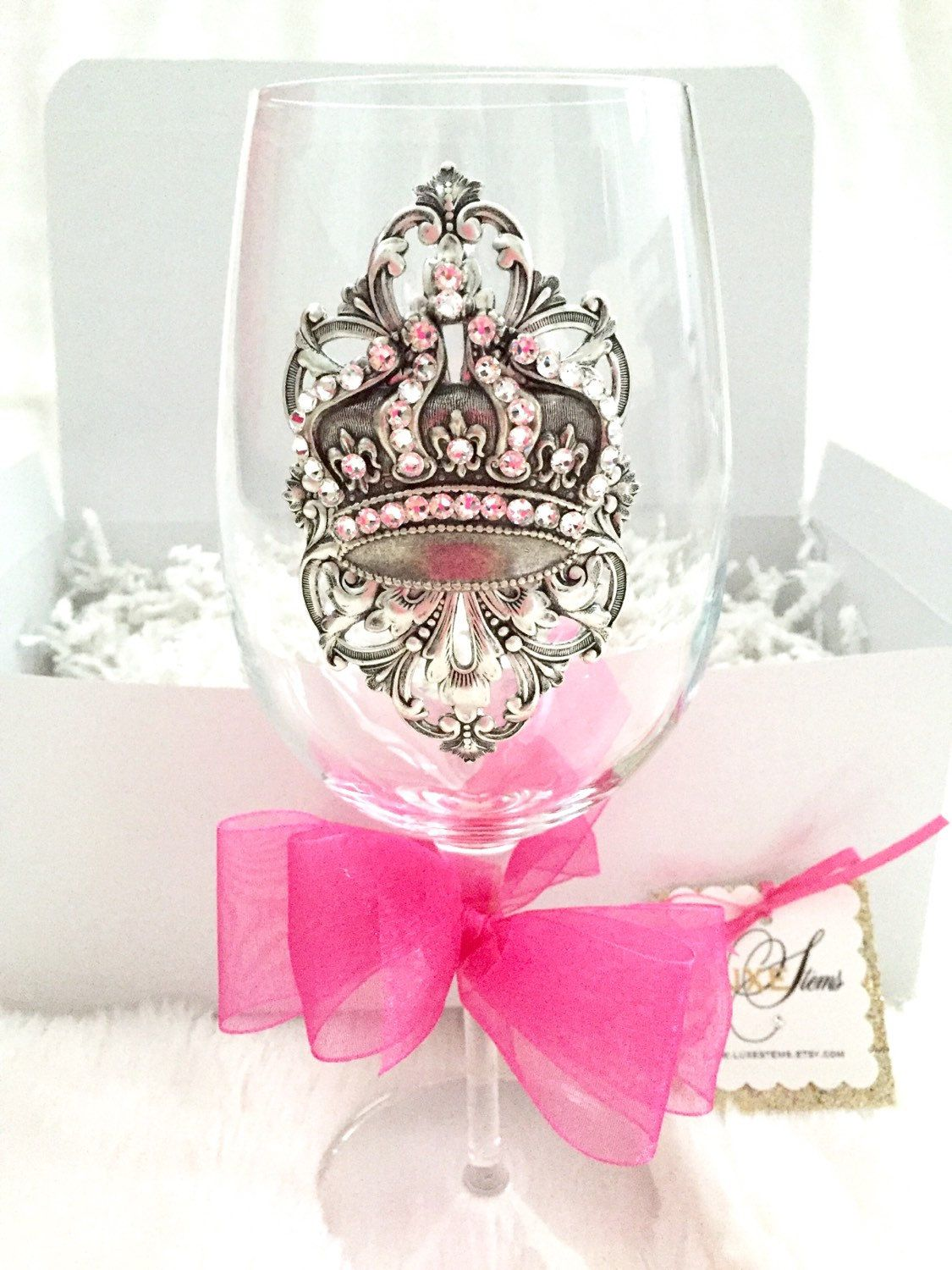 Kate...Adorned crystal wine glass with crown silver ox brass ...