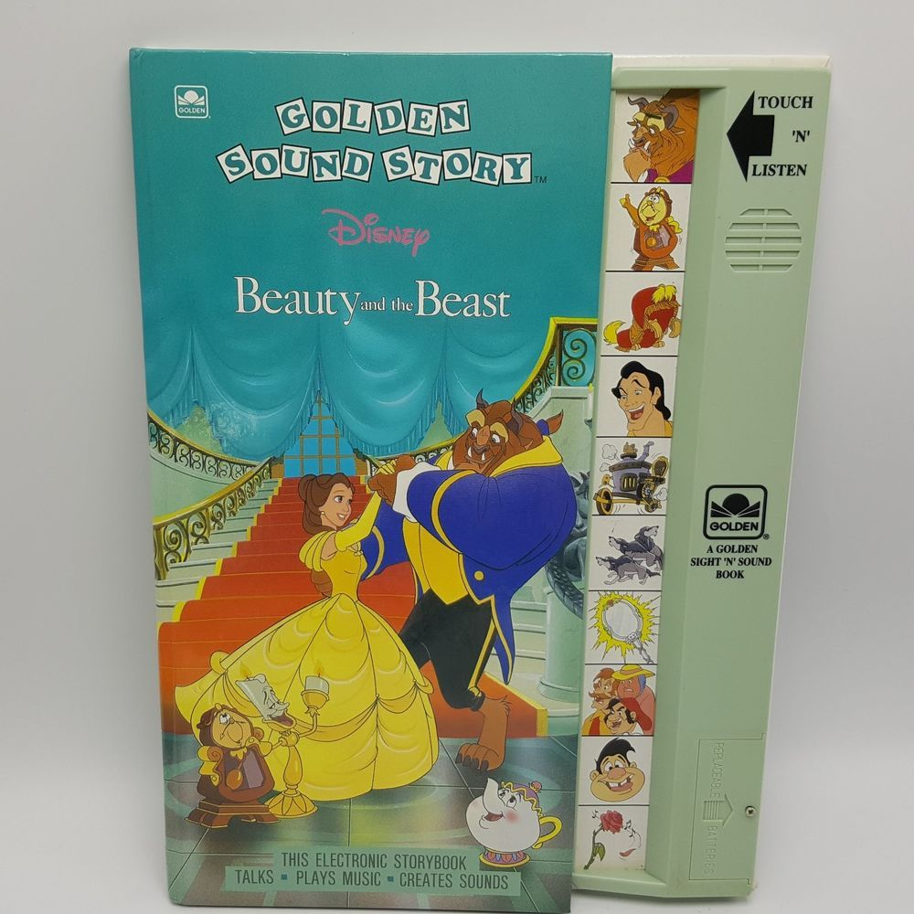 Golden Sound Story Book Disney Beauty Beast 1992 Batteries 1990s