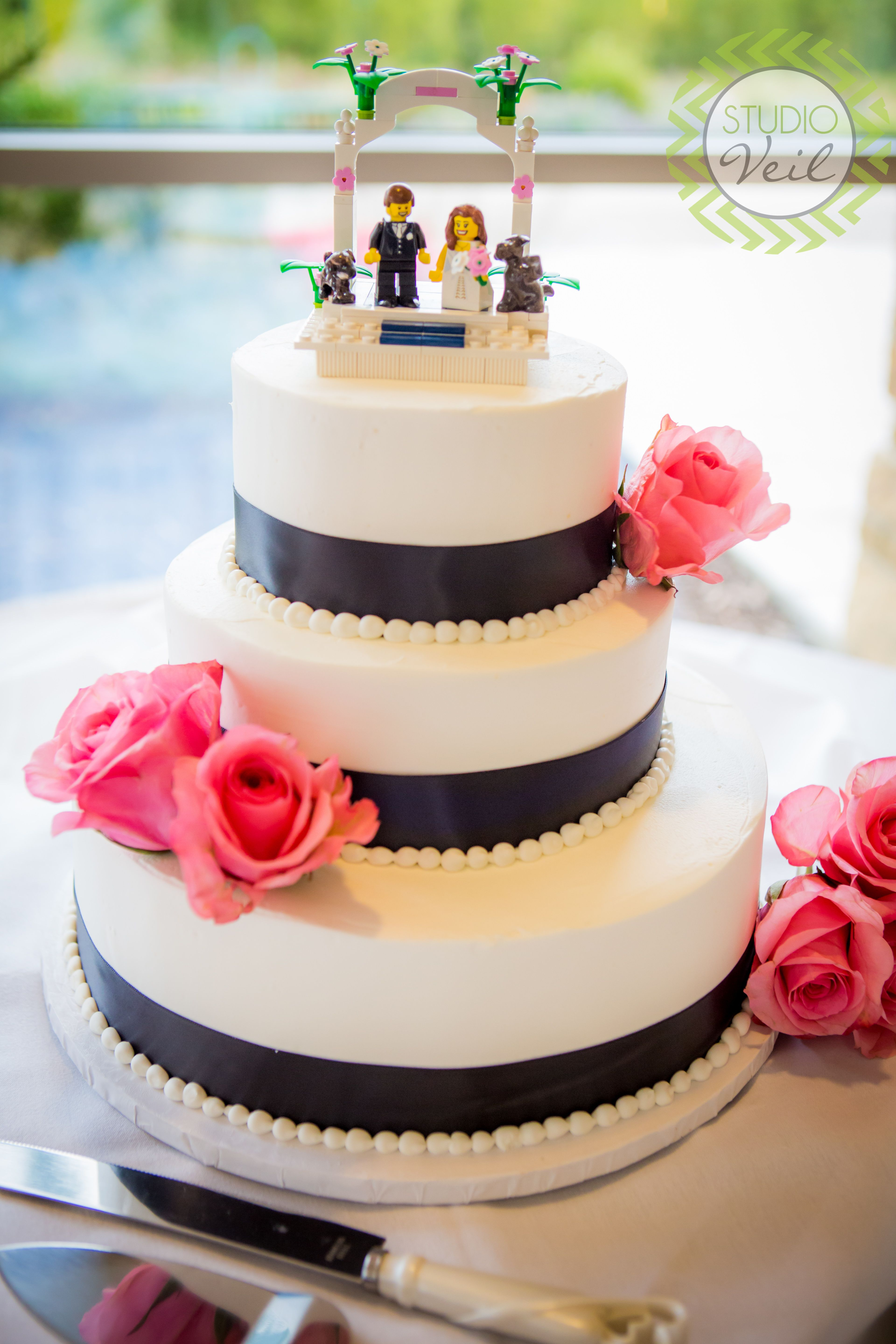 Black Pink And White Wedding Cake Lego Cake Toppers