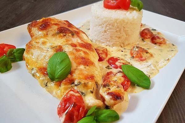 Mozzarella-Hähnchen in Basilikum-Sahnesauce #spitzkohlrezeptehackfleisch