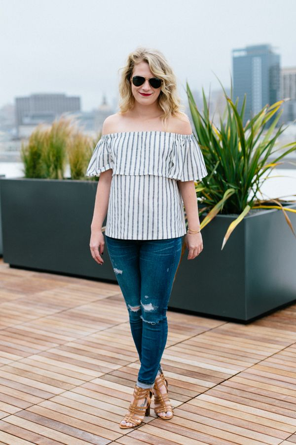 e3a05ca196388 Striped Banana Republic Off the Shoulder Top with Destroyed Denim.