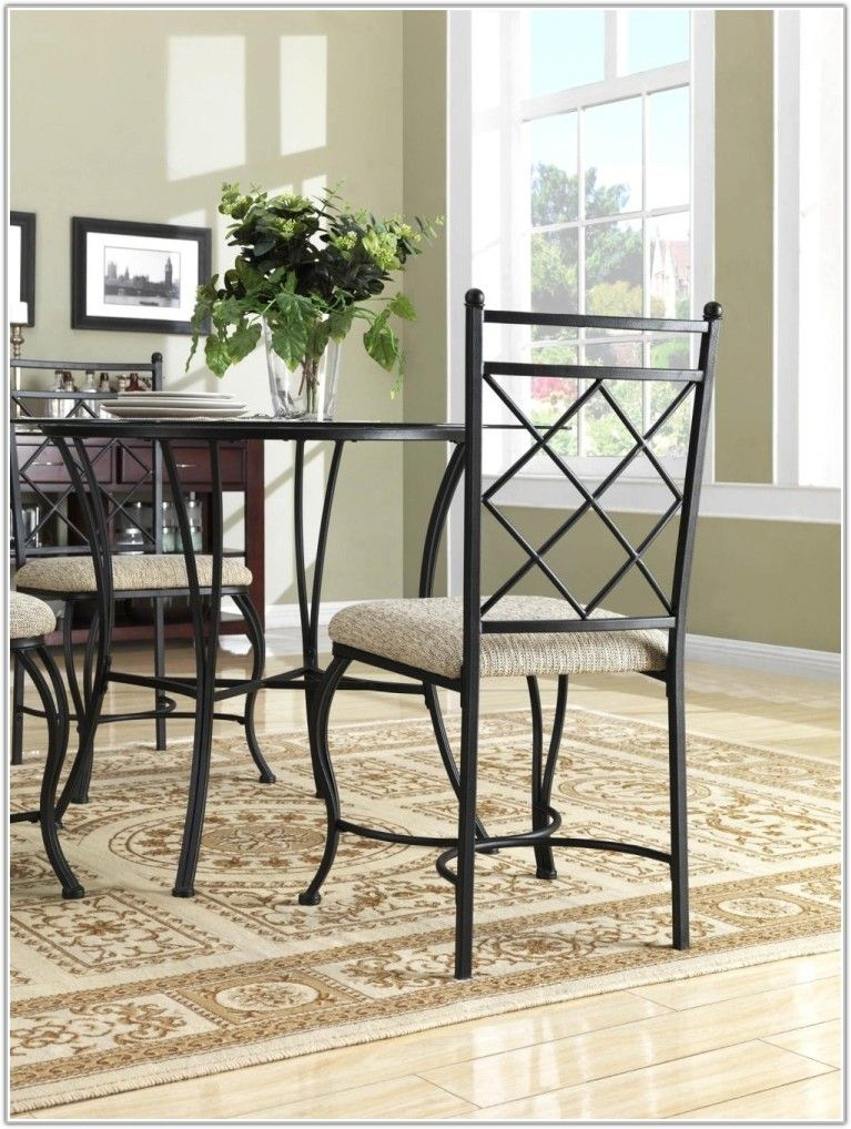 wrought iron dining room furniture used chairs and glass set ...