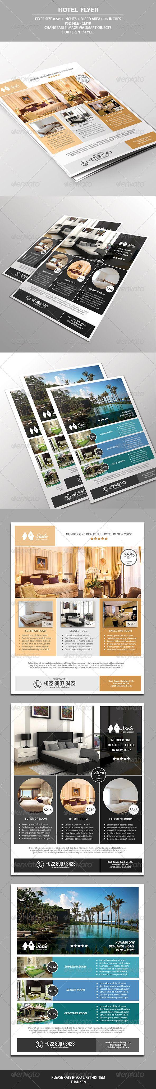 Hotel Flyer Template   Broschüren, Tourismus und Grafikdesign