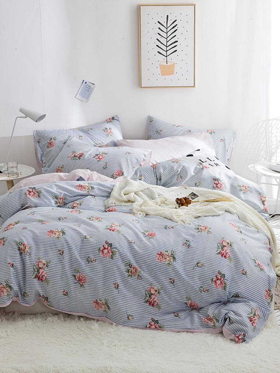 Allover Flower Print Sheet Set SheIn(Sheinside) Bedding