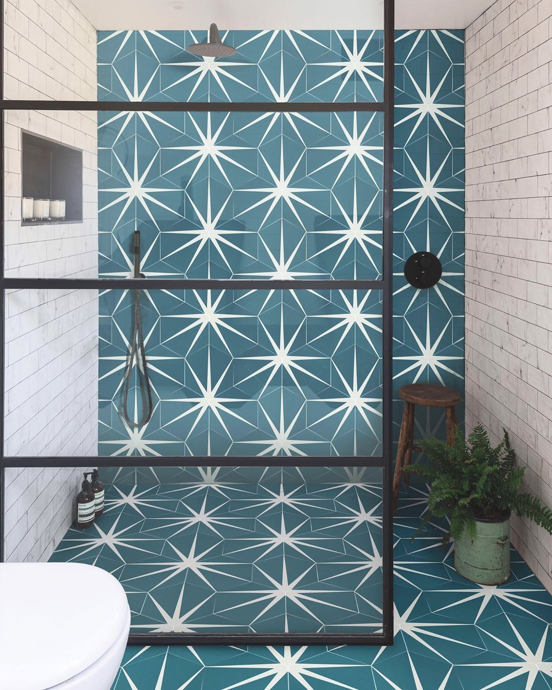 House Beautiful Uk On Instagram Instagram S Most In Demand Tile The Striking Geometric Lily Pad Is Ca Bathroom Interior Design Bathroom Interior Wet Rooms