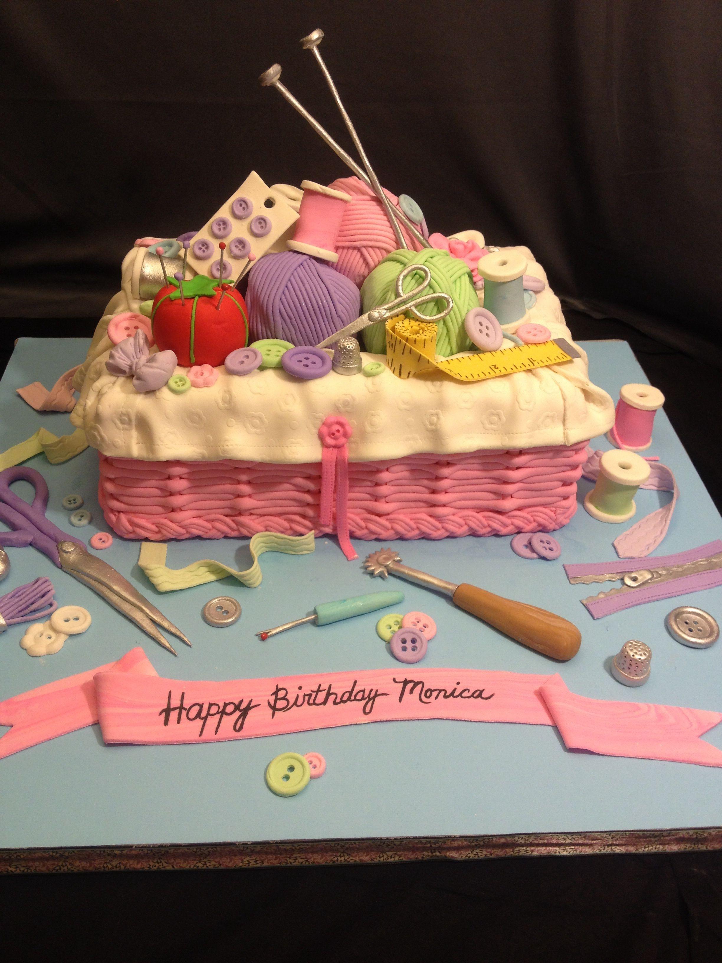 Sewing sewing cake knit knitting cake mothers day cake mom cake