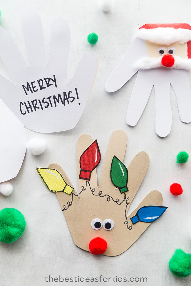 christmas handprint cards  christmas cards kids unique