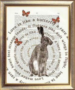 Image of Antique hand printed artwork -Designs incl. Stag, Bird, Butterfly,Hare