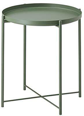 Amazon De Ikea Gladom Tabletttisch In Dunkelgrun 45x53cm