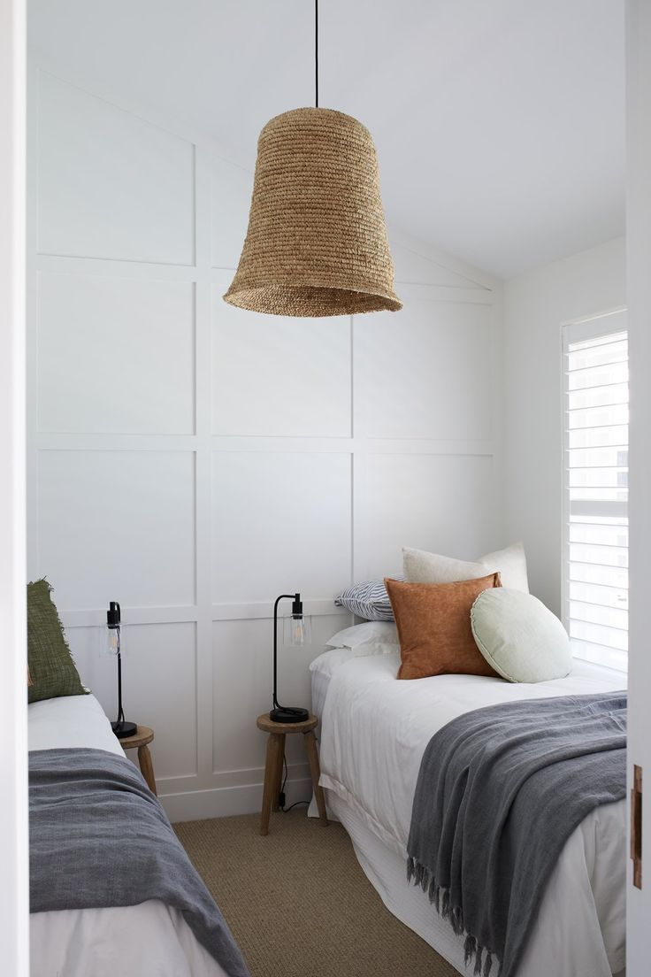 Photo of Home Decor Accessories White custom wainscoting + woven chandelier in the bedroom + kids room + neutral kids room + white bedding with colorful pillows | Bam Construction & Design