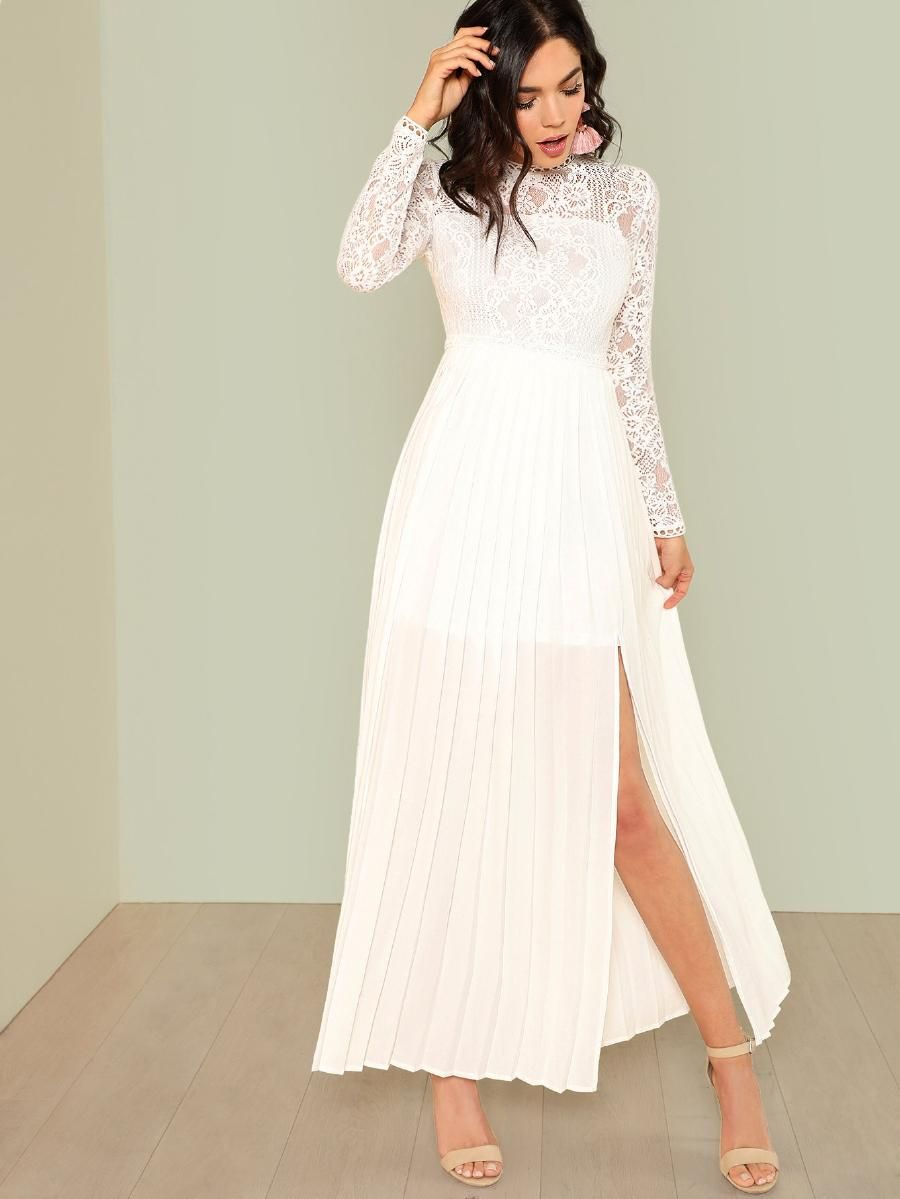 Lace bodice pleated panel dress sheinsheinside stand