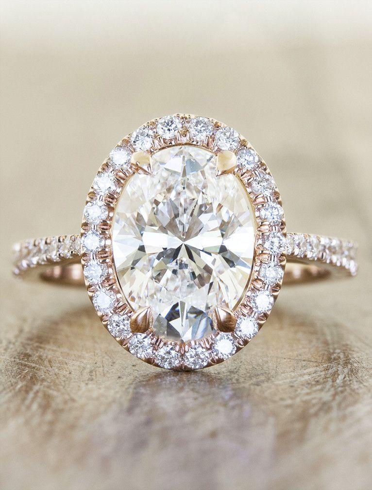 Diamond halo engagement ring with tapered band. Perfect WeddingDream WeddingRose  Gold Engagement RingOval ...